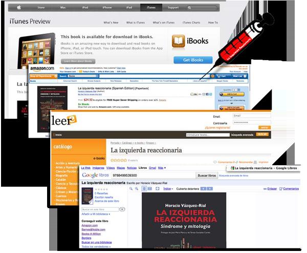 La Izquierda reaccionaria inyectada en Apple-iBooks, Amazon, Leer-e y Google Books.